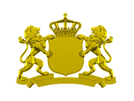 gold background: Gold lion crest banner