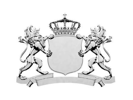 Silver lion crest banner photo