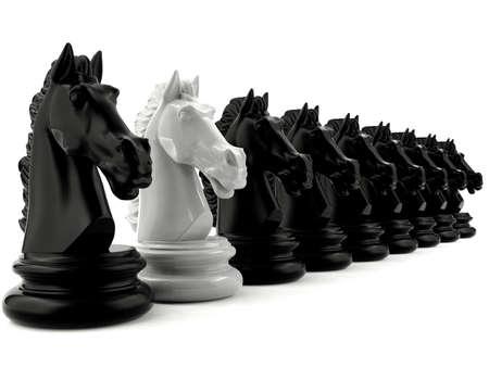 Witte ridder schaken onder zwarte ridder schaken