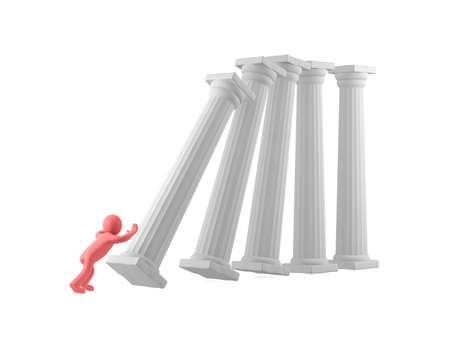 pushes: A man pushes white columns