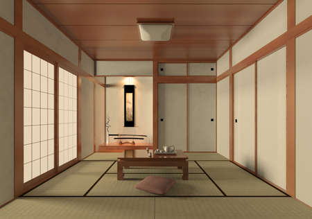 living room design: 3D rendering Japanese style room Stock Photo
