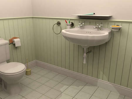 rendering: 3D rendering bathroom Stock Photo