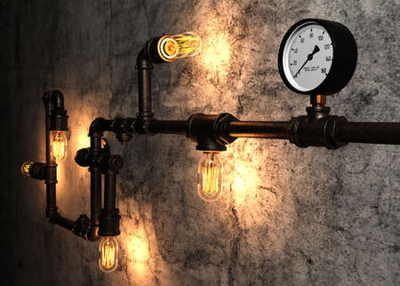 metal pipes: Light bulbs and metal pipes on the old cement wall