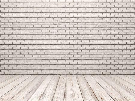 White brick wall and white wood floor
