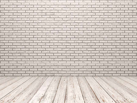 White brick wall and white wood floor
