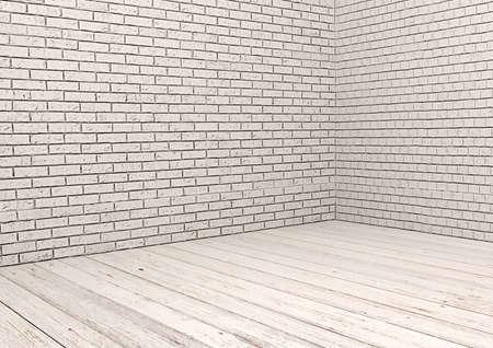 pisos de madera: Pared de ladrillo blanco y el piso de madera blanca