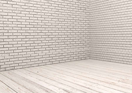 white wood floor: White brick wall and white wood floor