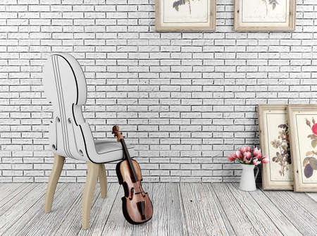 on a white background: White vintage room and decoration objects Stock Photo