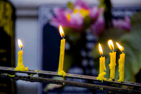 candlelit: Candles in temple Stock Photo
