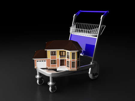 mover: House and cart isolated house and building mover business concept