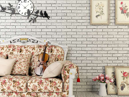 3D rendering white vintage style living room with decoration