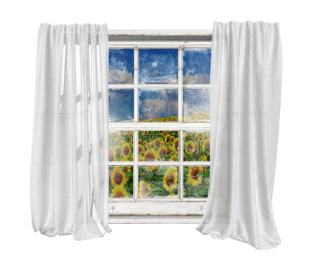 Old white vintage window with white curtains isolated on white background seeing sunflowers field and cloud blue sky outside