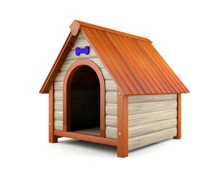 casa de perro: Casa de madera perro aislado en fondo blanco