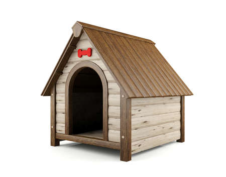 dog house: Wooden dog house isolated on white background