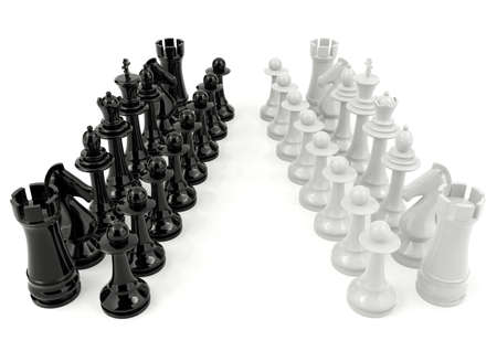 contradiction: White and black chess isolated on white background