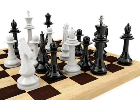 chess board: Chess board game on white background