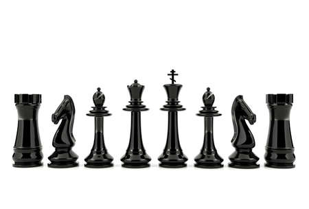 White and black chess isolated on white background