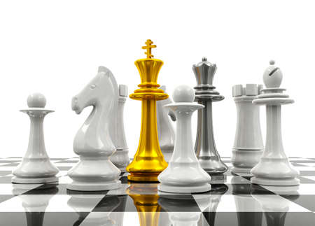 protection concept: Chess pieces protect chess king and queen protection concept
