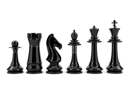 an ally: Black chess pieces isolated on white background