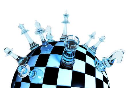 chess: Piezas de ajedrez de cristal azules en tablero de ajedrez globo en el fondo blanco concepto de estrategia