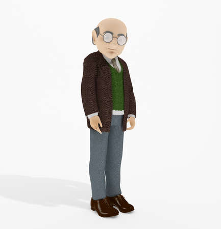 old man standing: 3D rendering old man standing isolated on white background