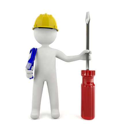 3d technician service man standing isolated on white background technical service concept Zdjęcie Seryjne