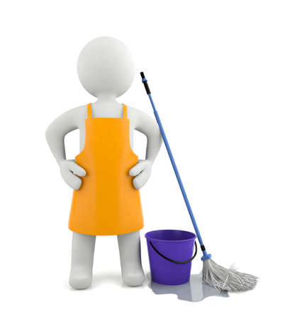 3d cleaner man standing isolated with cleaning equipments Stock Photo