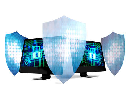 security technology: Personal computers protected by security system and technology shields data security concept Stock Photo