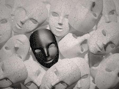 Smiling black mask among white masks Hypocritical concept Stockfoto