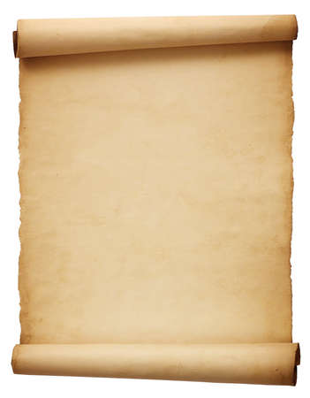 paper: Old antique scroll paper isolated on white background