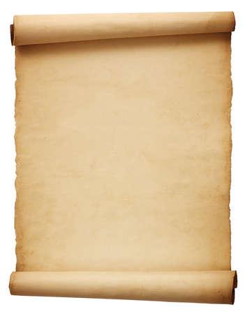 cartas antiguas: Papel viejo pergamino antiguo aislado en el fondo blanco