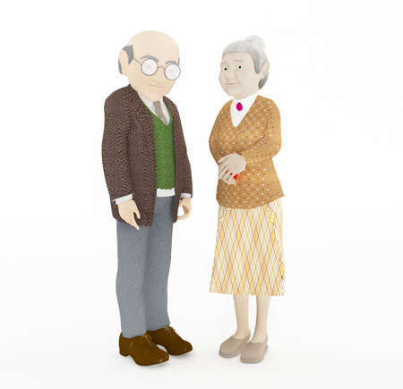 old couple: 3D rendering old couple standing isolated on white background