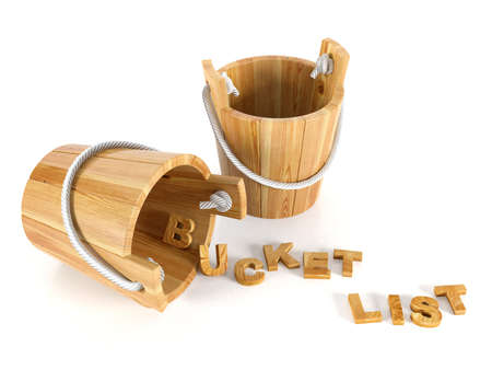 Wood buckets with letters on white background bucket list concept
