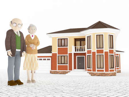 retirement home: Senior cartoon couple standing in front of big house retirement concept