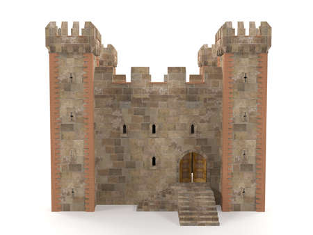 stronghold: 3d render stone brick stronghold isolated on white background