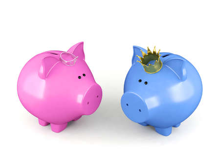 queen crown: Blue piggy bank and pink piggy bank wearing a crown standing isolated on white background Stock Photo