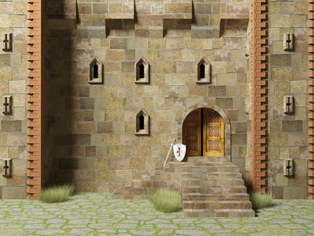 stronghold: 3D render medieval stronghold building exterior Stock Photo