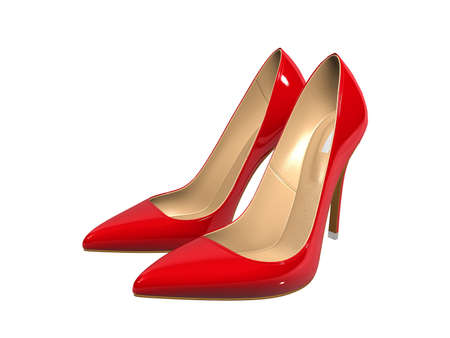 fetishes: Female red high-heeled shoes over white background
