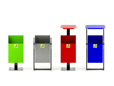public waste: Variety colors rubbish bins set with trash icon isolated on white background