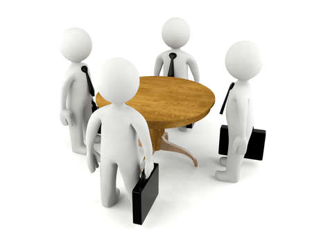 business work: Group of 3D man having business meeting