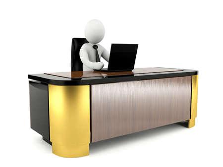 ejecutivo en oficina: Hombre 3D que trabaja con ordenador portátil en el escritorio de trabajo grande