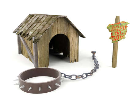 Ruined wooden dog house with warning sign and pet collar with fetters isolated on white background