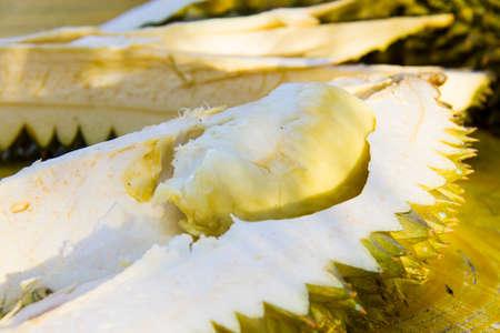 Opened ripe durian fruit Stock Photo