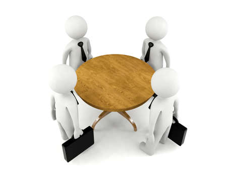 business meeting: Group of 3D man having business meeting