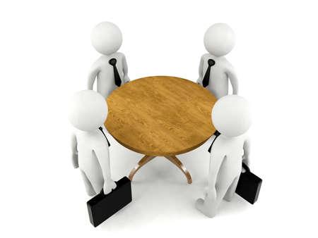 reunion de personas: Grupo de los hombres 3D con reuni�n de negocios Foto de archivo