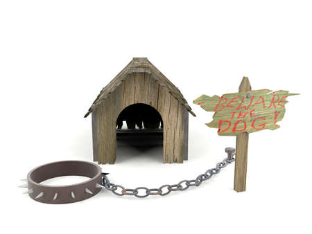 pet collar: Wooden dog house with warning sign and pet collar with fetters