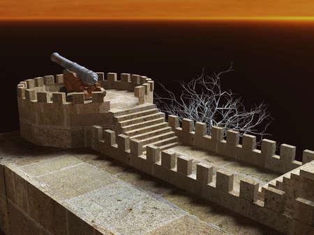 ch�teau m�di�val: Canon militaire sur le mur de pierre de ch�teau m�di�val