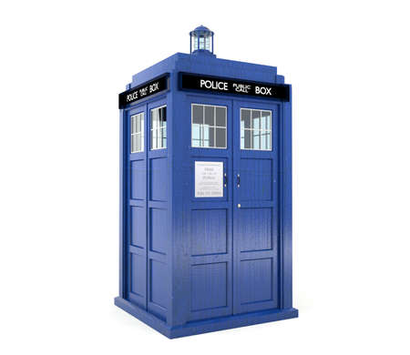 Blue police box isolated on white background Zdjęcie Seryjne