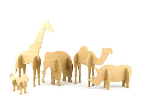 juguetes de madera: Juguetes animales de madera para los niños en el fondo blanco