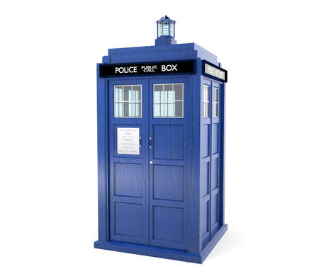 Blue police box isolated on white background 写真素材